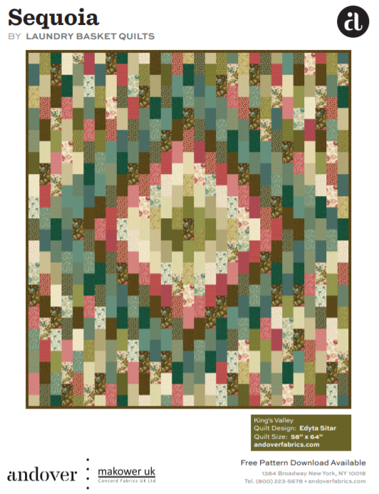 Free Pattern: King's Valley Quilt featuring Sequoia (Strip Quilt) by Laundry Basket Quilts