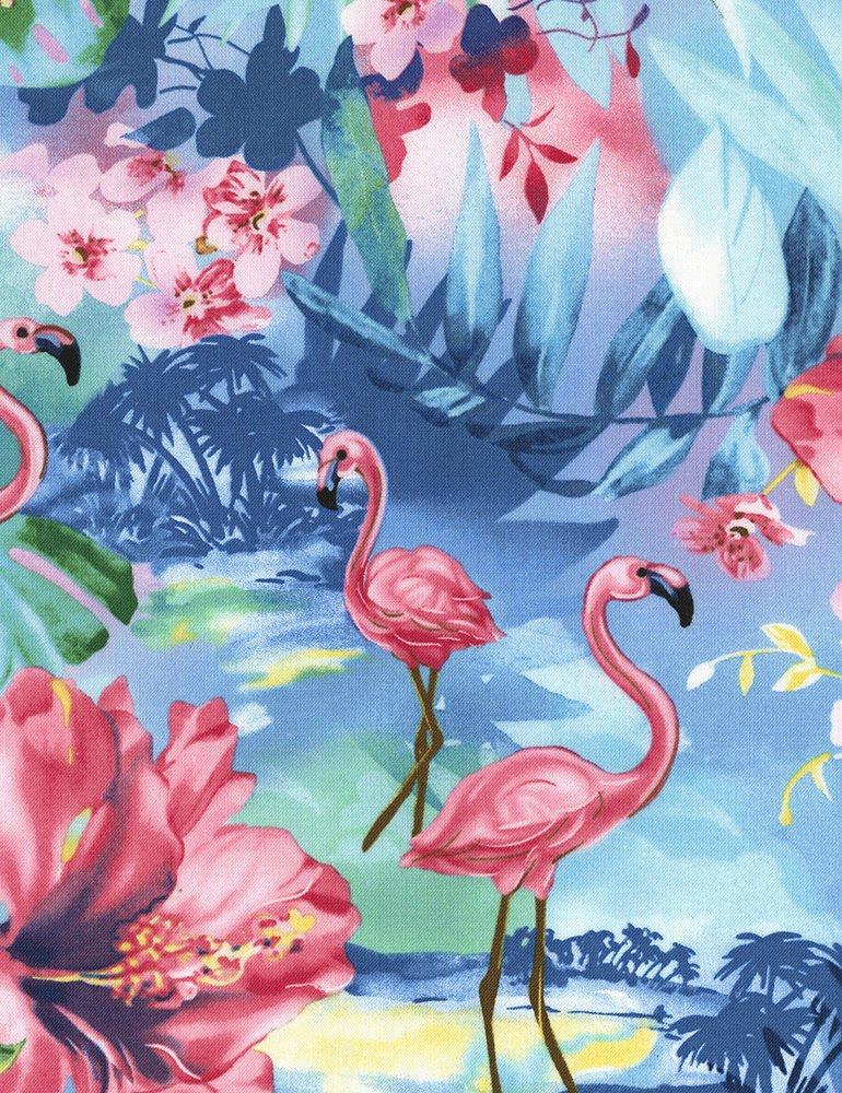 Timeless Treasures Fun C5741 Ocean Tropical Flamingo