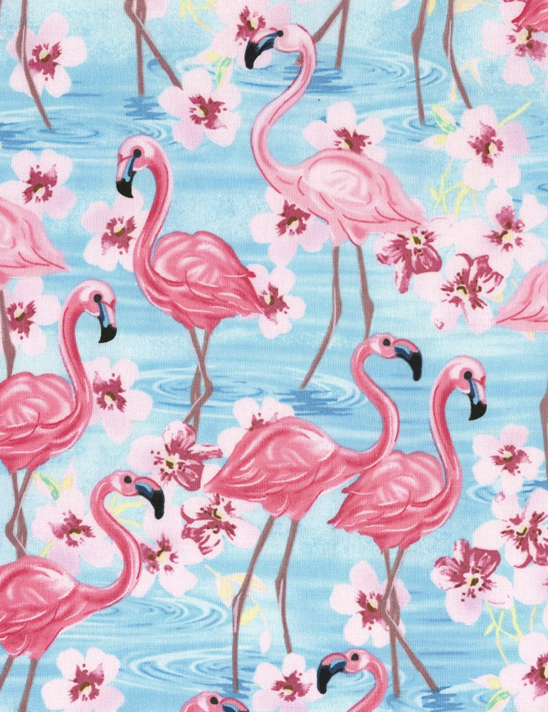 Timeless Treasures Fun C5745 Blue Flamingos and Flowers