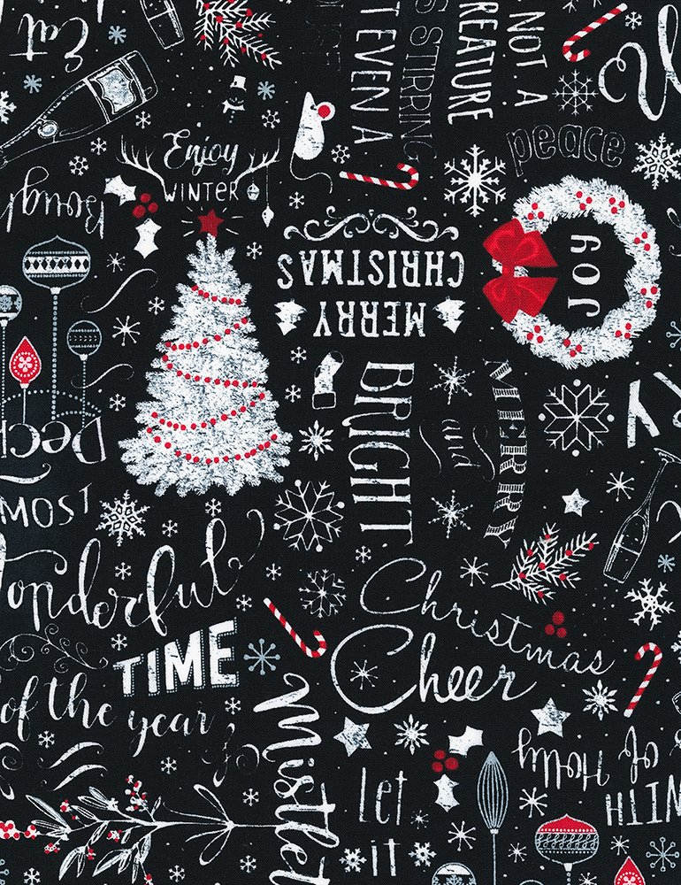 Timeless Treasures GAIL C6884 Black - Chalk Merry Christmas Text