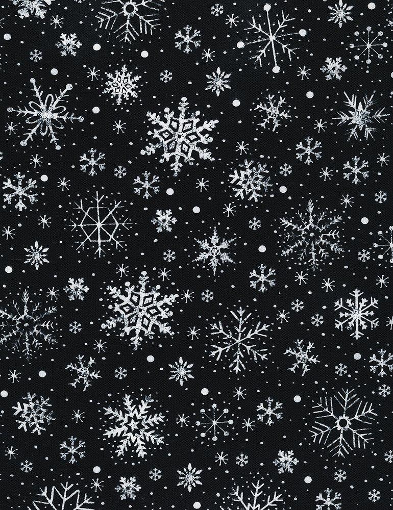 Timeless Treasures GAIL-C6886 Black - Chalk Snowflakes