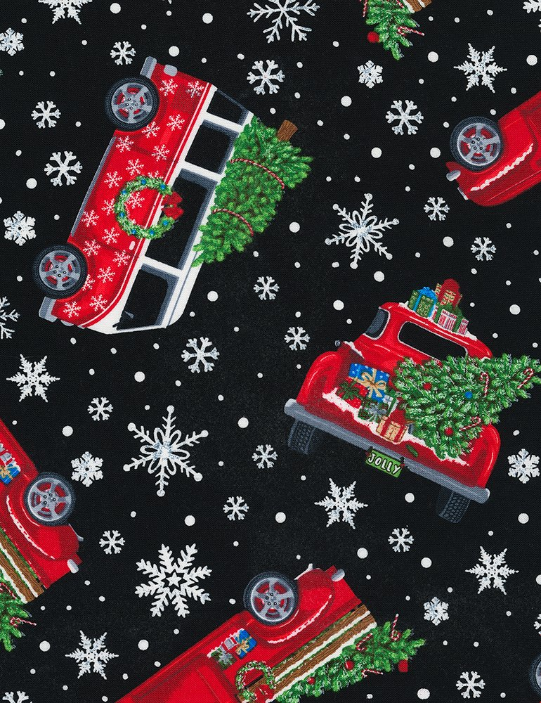 Timeless Treasures GAIL-C6887 Tossed Holiday Cars with trees