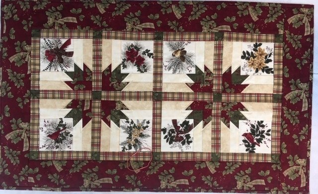 Sample for Sale: Gemini Table Runner featuring Holly and Cardinals