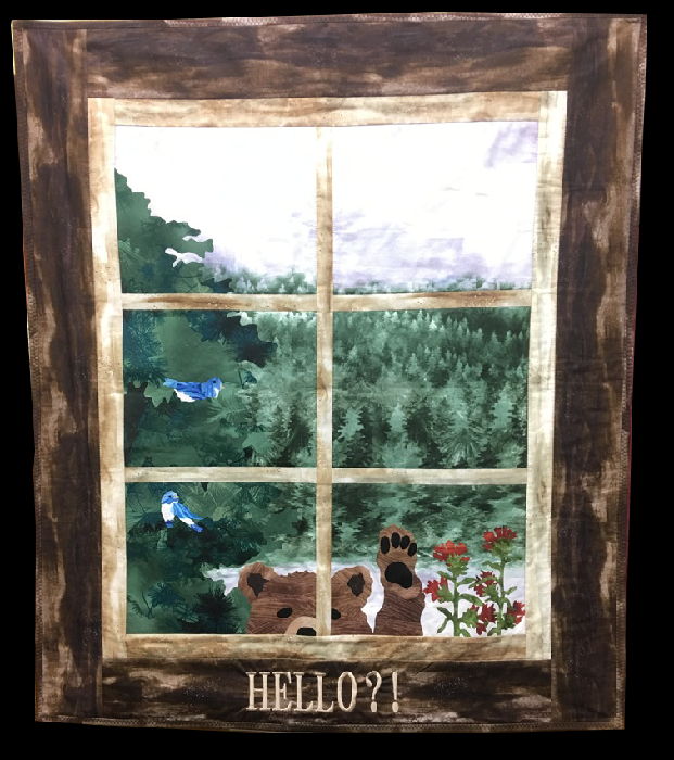 For Sale:  Hello Bear - McKenna Ryan design - Applique window frame with bear wall hanging 29x33