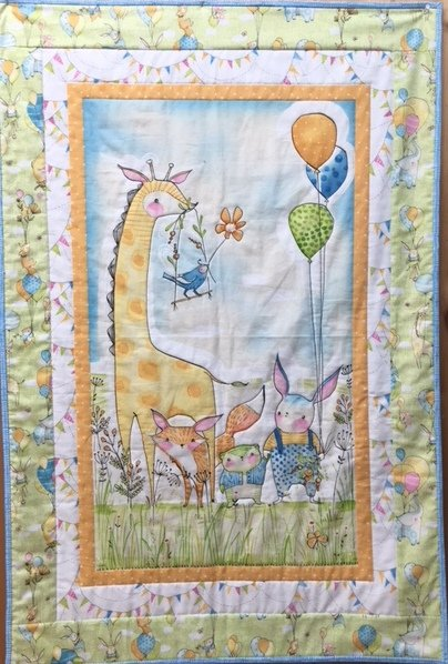 Wee Pals Baby/Childrens PANEL Quilt Kit - featuring Hello World Good Day fabrics