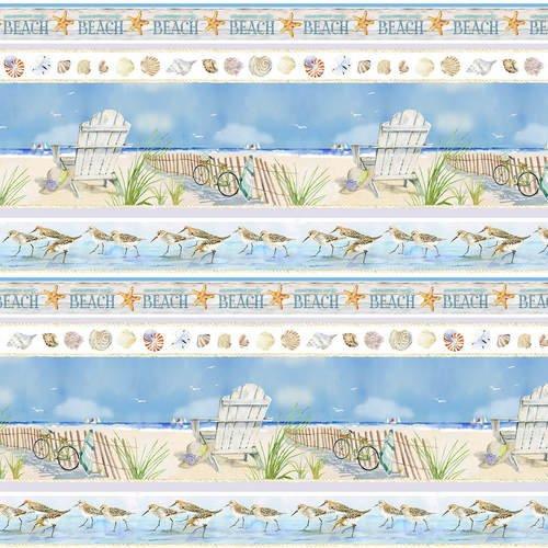 Henry Glass - Coastal Paradise   1506-11 Beach Ocean Stripe