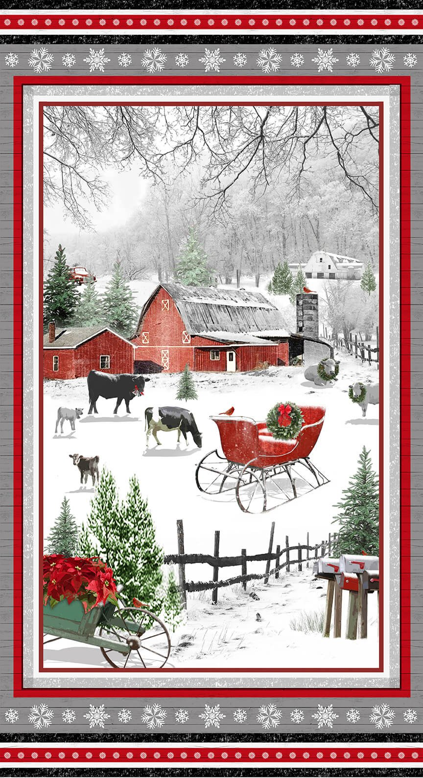Henry Glass - Holiday Homestead FARM SCENE PANEL 1611P-89 by Jan Shade Beach