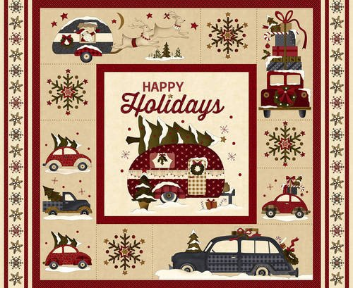 Henry Glass - Buttermilk Winter VINTAGE TRUCK CAMPER PANEL 2281P-33 Stacy West