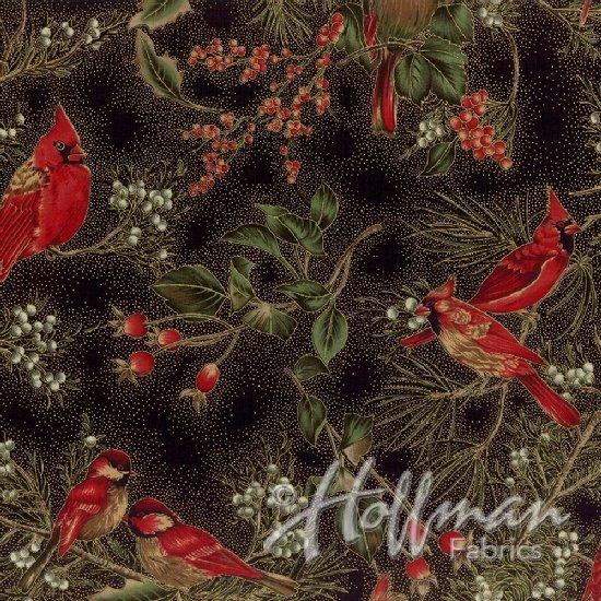Hoffman Cardinal Carols - Winter Magic Black/Gold H8821-4G