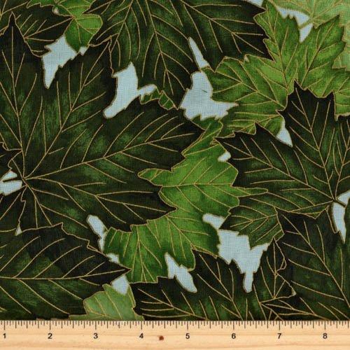 Hoffman Fabrics - Treeline Drive M7472-521G Mist/Gold