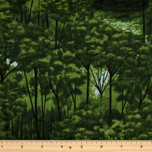 Hoffman Fabrics - Treeline Drive M7475-521G Mist/Gold