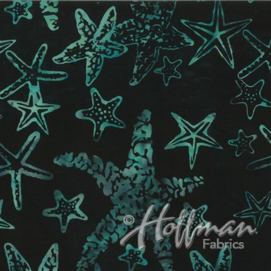 Hoffman Batik Q2167-216 Black - Jade Starfish