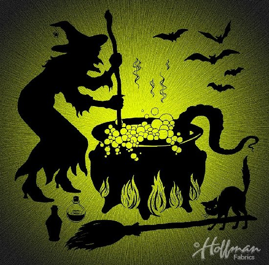 Hoffman Supernova Seasons Witch Cauldron DIGITAL PANEL Q4462-499-Chartreuse