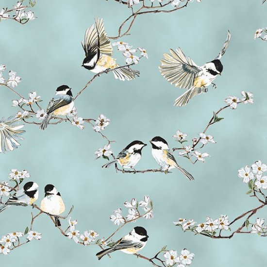 Hoffman Fabrics - A Little Birdie Told Me - Dusty Teal/ Silver Chickadee Dogwood Q4505-D21S
