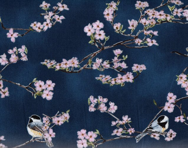 Hoffman Fabrics - A Little Birdie Told Me - Deep Blue; Silver Chickadee Dogwood Q4506-682S