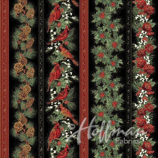 Hoffman Cardinal Carols - Cardinal Stripe Black/Gold Q7625-4G