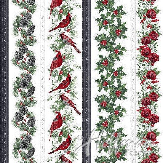 Hoffman Cardinal Carols - Cardinal Stripe Mist/Silver Q7625-521S