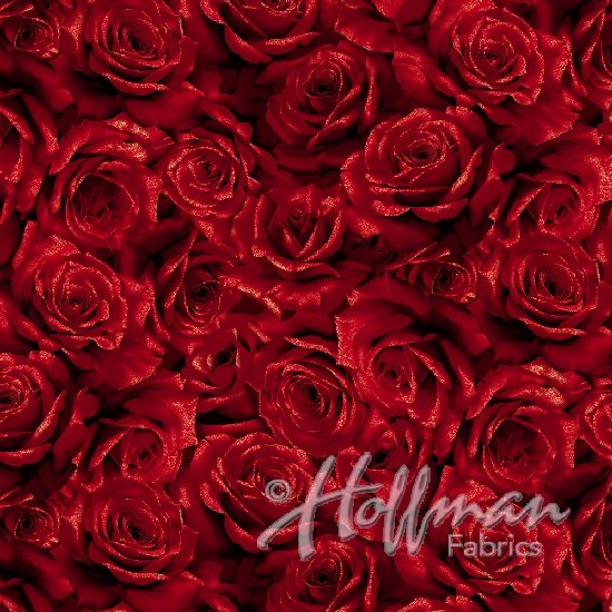 Hoffman Cardinal Carols - Red Roses with Gold Accents Q7630-5G