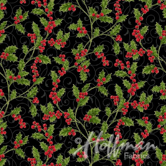 Hoffman Poinsettia Song - Holly Berry Black/Gold Q7639-4G