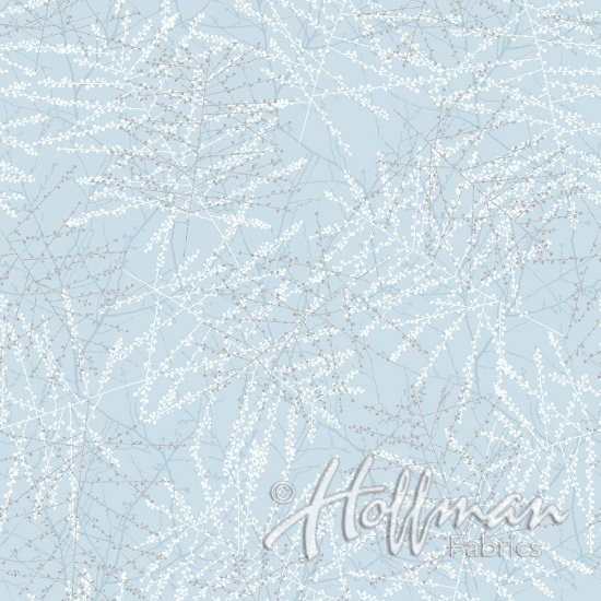 Hoffman Baby Its Cold Outside - Ice Blue/Silver Sprigs Q7648-190S