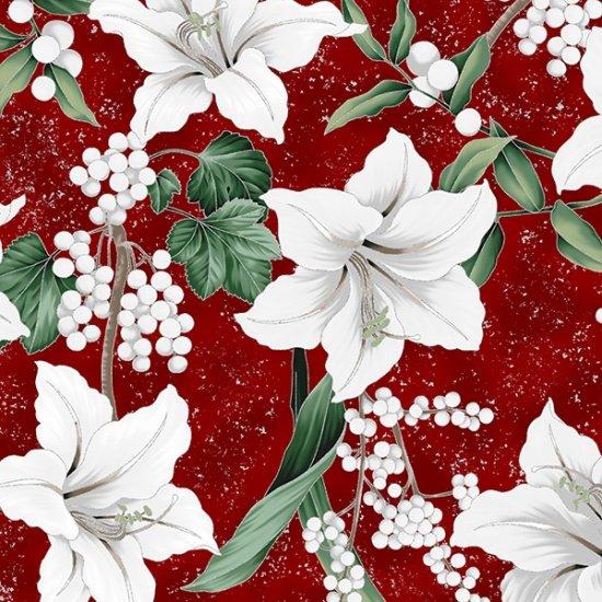 Hoffman | Winter Blooms R7673-231S Garnet/Silver Poinsettias