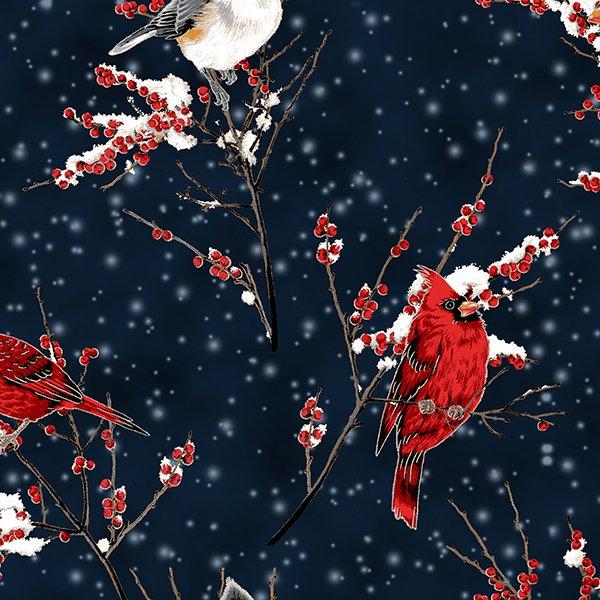 Hoffman   A Winter's Sky R7682-128S Midnight/Silver Cardinal Berries