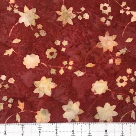 Hoffman Bali RAYON Batik 2952-428 Flowers and Stems Mulberry