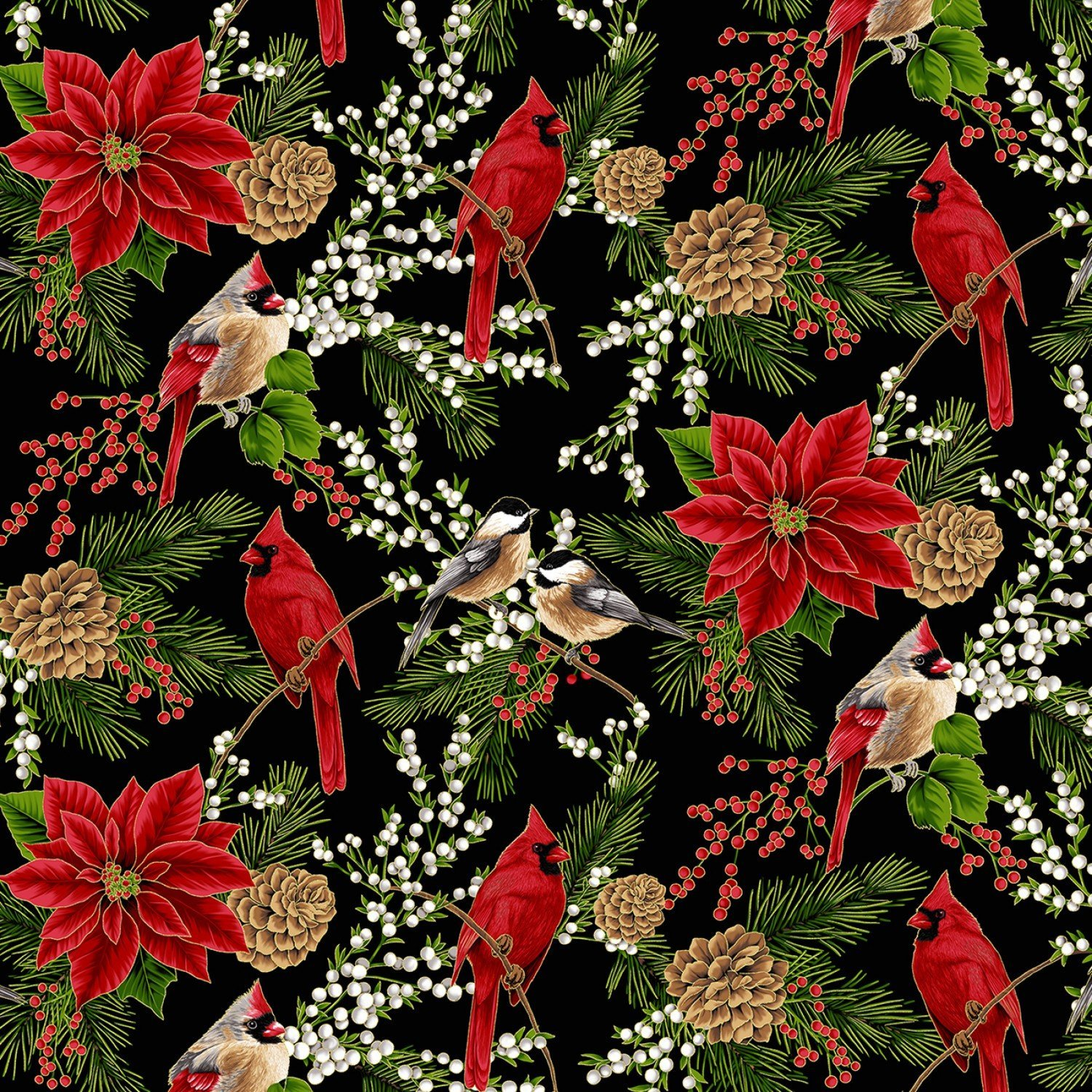 Hoffman Holiday Decadence S7700 4G Black Gold Cardinals Chickadees Poinsettias