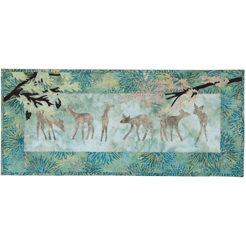 SALE - Beneath The Boughs -  Batik Fabric Pack + Pattern -  Deer & Pine Wall Hanging