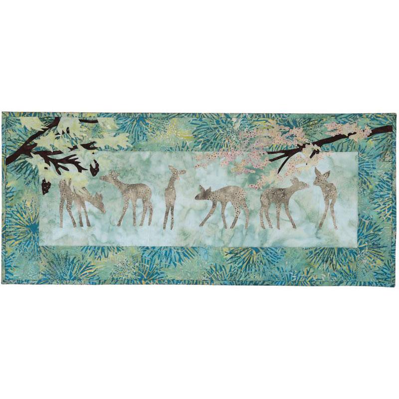 Beneath The Boughs -  Batik Fabric Pack + Pattern -  Deer & Pine Wall Hanging