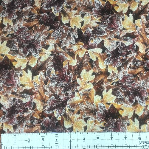 Hoffman Frosted Fall - Fall Leaves with Metallic Accents - Goldenrod 7538-455