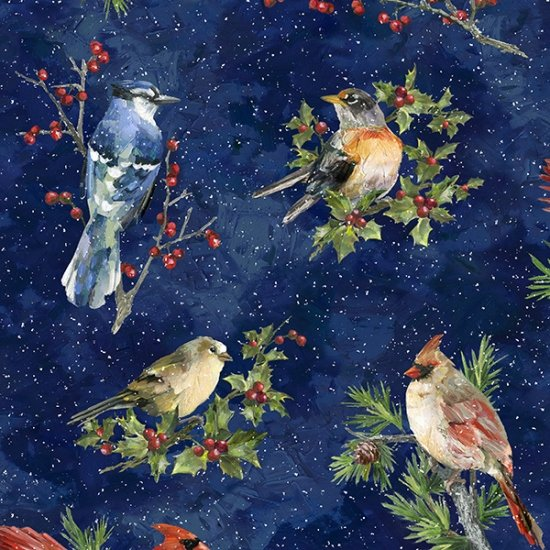 Hoffman Winter Wonder S4707 128 Midnight Cardinals Birds