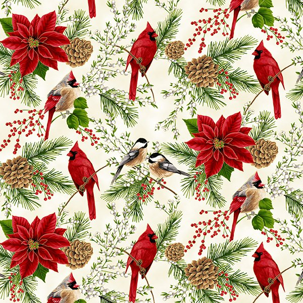 Hoffman Holiday Decadence S7700 20G Natural Gold Cardinals Chickadees Poinsettias