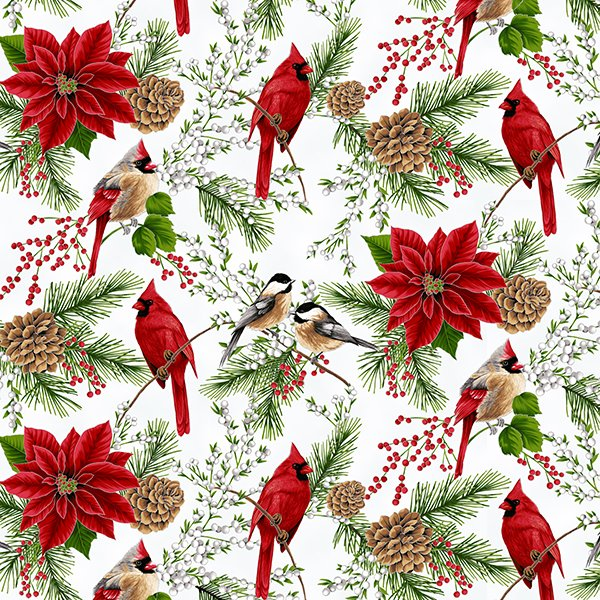 Hoffman Holiday Decadence S7700-521S Mist/Silver Cardinals Chickadees Poinsettias