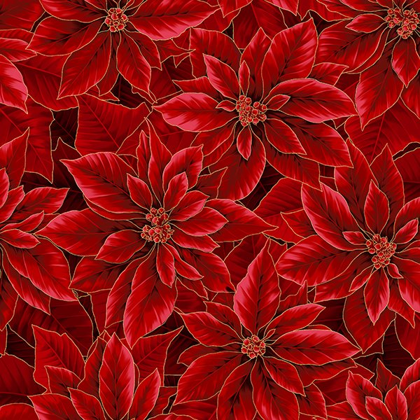 Hoffman Holiday Decadence S7702 78G Scarlet Gold Poinsettias