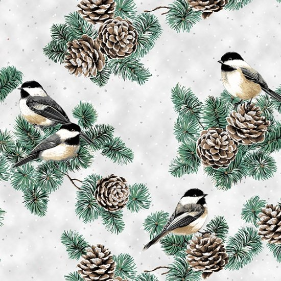Hoffman First Snowfall S7712 307S  Snow Silver Chickadees Pine Boughs