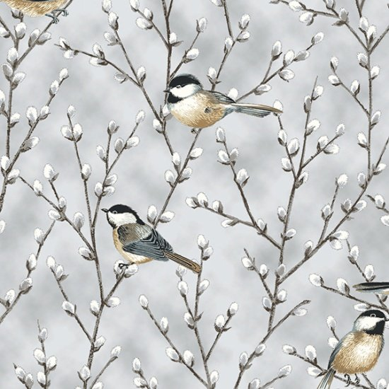 Hoffman First Snowfall S7713 674S Light Gray Silver Chickadees Pussy Willow
