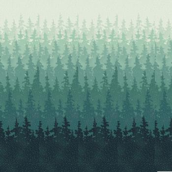Hoffman | Perch T7745 D21S Teal Silver Ombre Trees w/Metallic