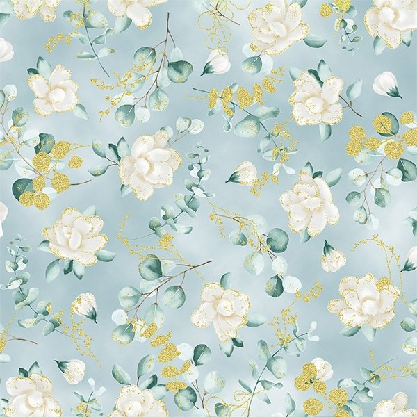 Hoffman | Home Sweet Home T7755 D7G Dusty Blue/Gold Floral & Leaves