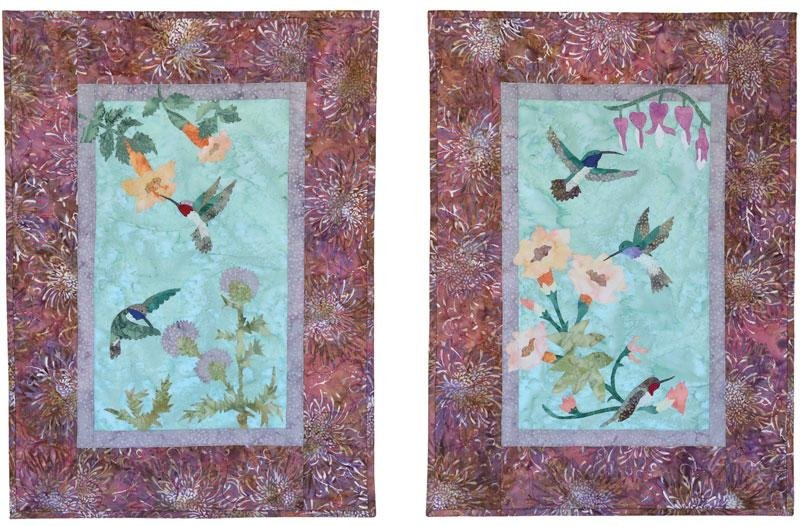 Tessa's Garden Batik Fabric Pack + Pattern - Create 2 Hummingbird Wall Hangings