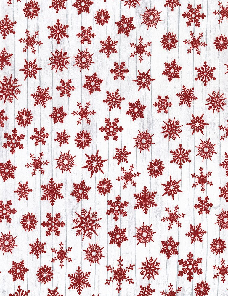 Timeless Treasures Holiday C5789 White - Red Snowflakes on White Barnboard