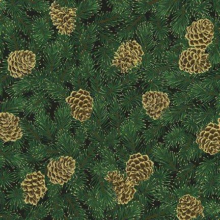 Robert Kaufman - Holiday Flourish 13 - BLACK SRKM 19253 2 Pine Cones & Evergreen