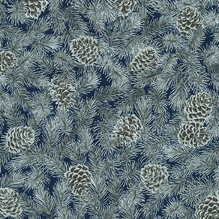 Robert Kaufman - Holiday Flourish 13 - SRKM 19253 9 NAVY Pine Cones & Evergreen