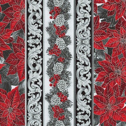 Robert Kaufman - Holiday Flourish 13 SCARLET SRKM 19262 93 Pine Poinsettia Stripe