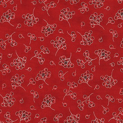 Robert Kaufman - Holiday Flourish 13 SCARLET SRKM 19263 93 Red Berries