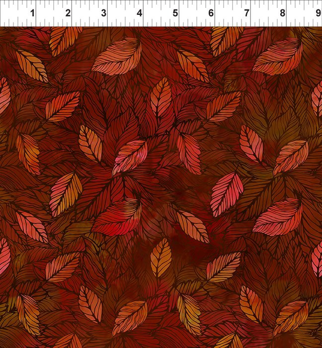 SEASONS 4SEA1 LEAVES - SPICE by In The Beginning Fabrics