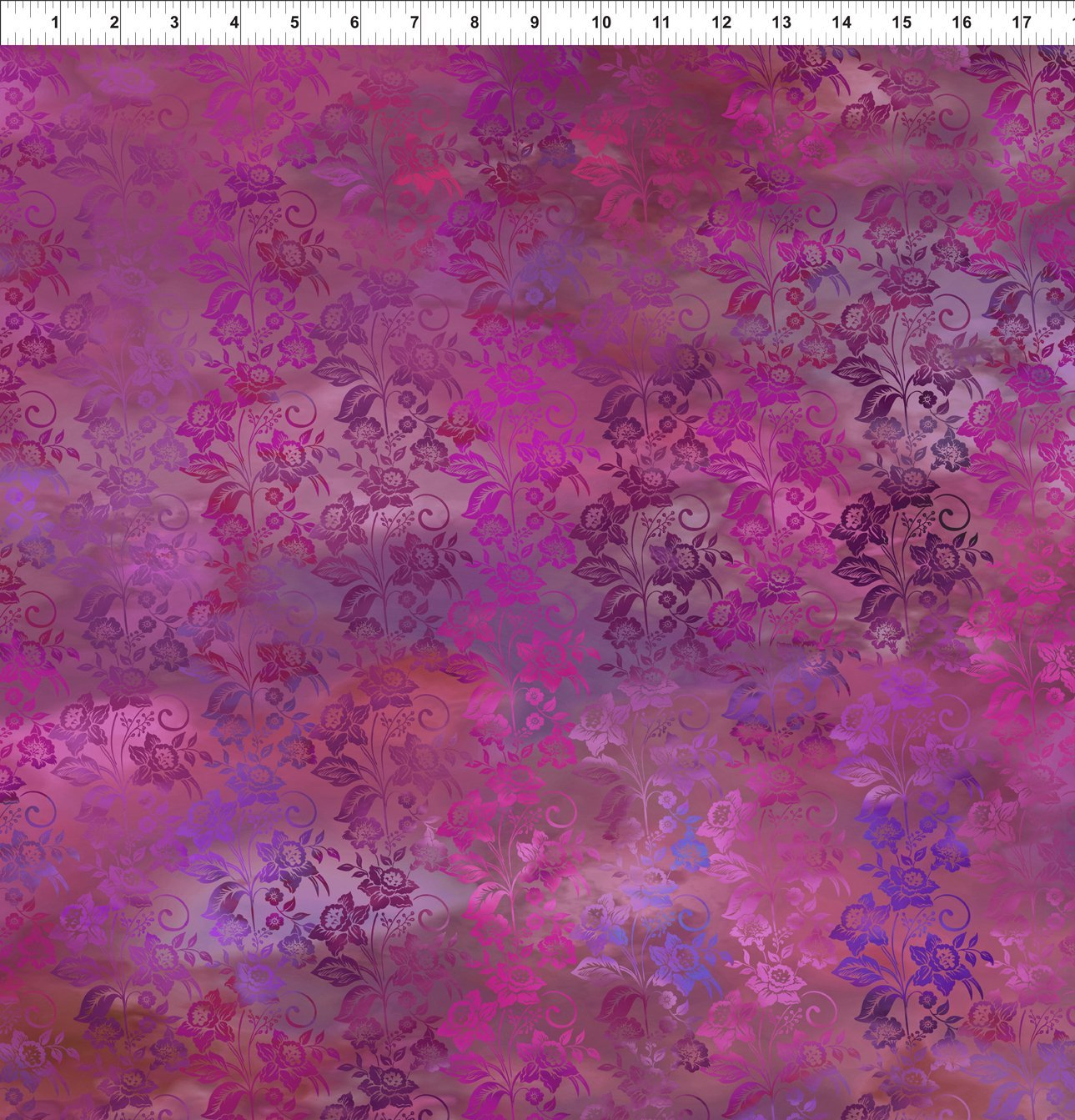 DIAPHANOUS 5ENC4 ENCHANTED VINES - MAGENTA by In The Beginning Fabrics