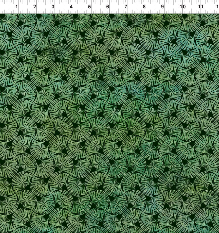 SEASONS 5SEA3 FANS - GREEN by In The Beginning Fabrics