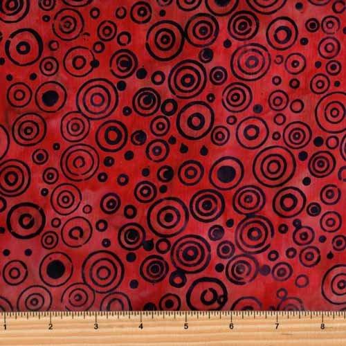 In The Beginning Fabrics Floragraphix Batik 7GBC-13 Red Rings