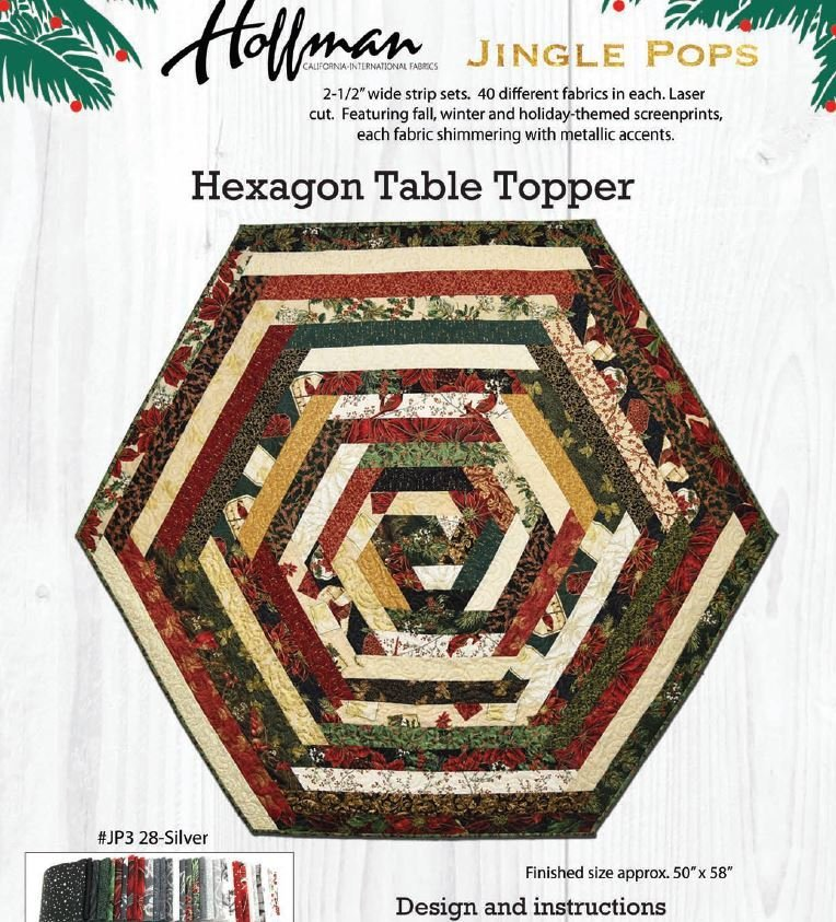 Free Pattern:  Jingle Pop Hexagon Table Topper for 2 1/2 strips
